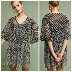 Anthropologie embroidered shift dress
